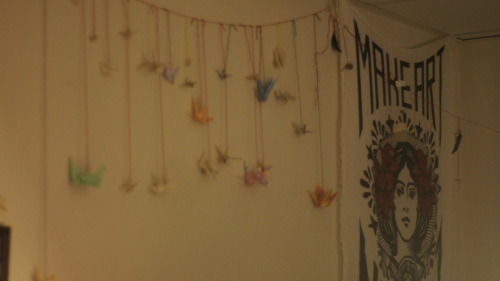 cranes on my wall in my dorm :) they got tangled on the move out though