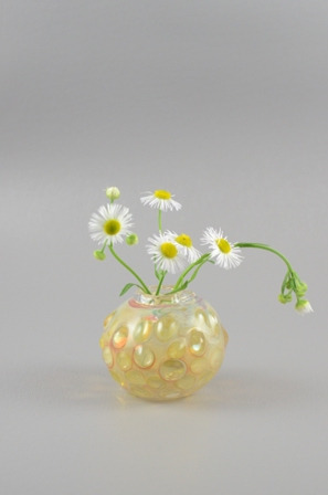 Hand Blown Glass Bud Vase, Fine Silver and 22k Gold Coating. www.daaglass.com