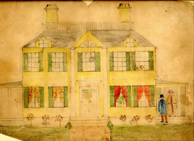 "Craigie House. Watercolor and pencil, early 1850s. Fanny and Henry [Wadsworth Longfellow] are portrayed on the right, in front of the east porch or ""piazza,"" while Charley, Erny, and possibly Alice (who was born 22 September 1850) can be seen peering out of a second-floor window."