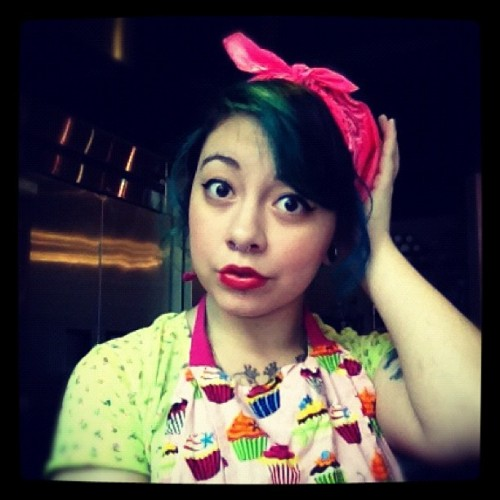 #pinup #retro #pink #cupcakes #apron #girl (Taken with Instagram)