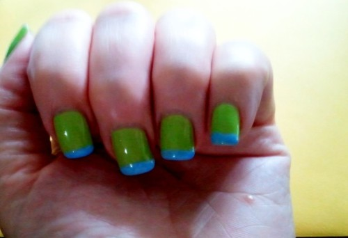"Color block nails.  Essie ""Bikini So Tiny"" and OPI Gel #533"