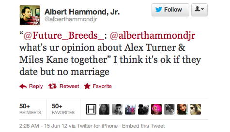 Even Albert Hammond Jr. is giving his opinion on Alex/Miles. Ha.
