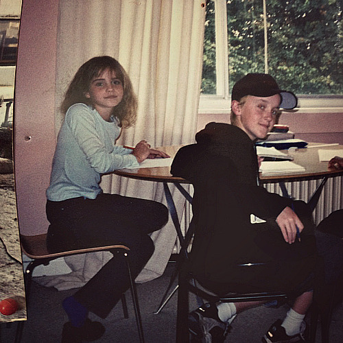 lightningshapedscar:  →Emma Watson and Tom Felton on their first day of filming on Harry Potter.