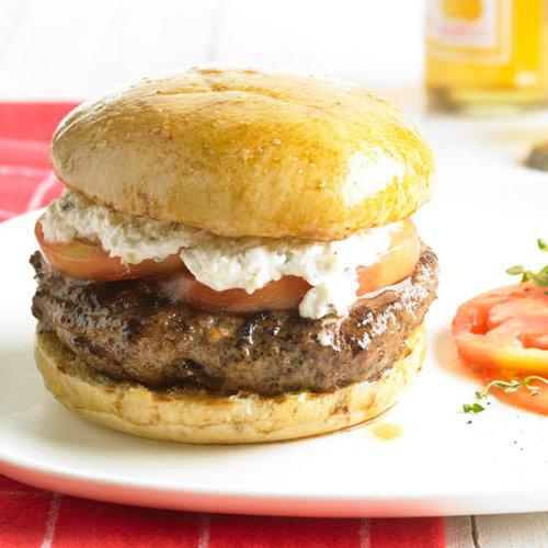 Daily Dish: This savory Greek Lamb & Feta Burger was featured in our June issue!