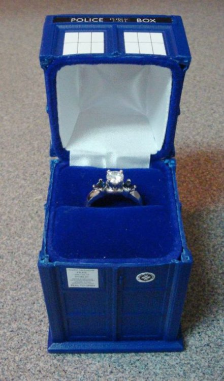 collegehumor:  TARDIS Engagement Ring Box Will you be Mrs. The Doctor?  Absolutely!