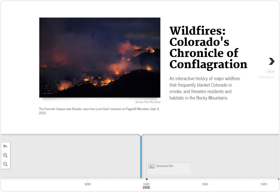 Interactive timeline: A history of major wildfires in Colorado An interactive history of major wildfires that frequently blanket Colorado in smoke, and threaten residents and habitats in the Rocky Mountains.
