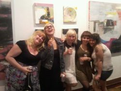 some babes, some of my paintings, and me