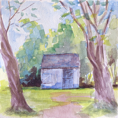 tool shack, watercolor, 140 lb. cold pressed paper, 8 x 8 inches, 2012 SOLD