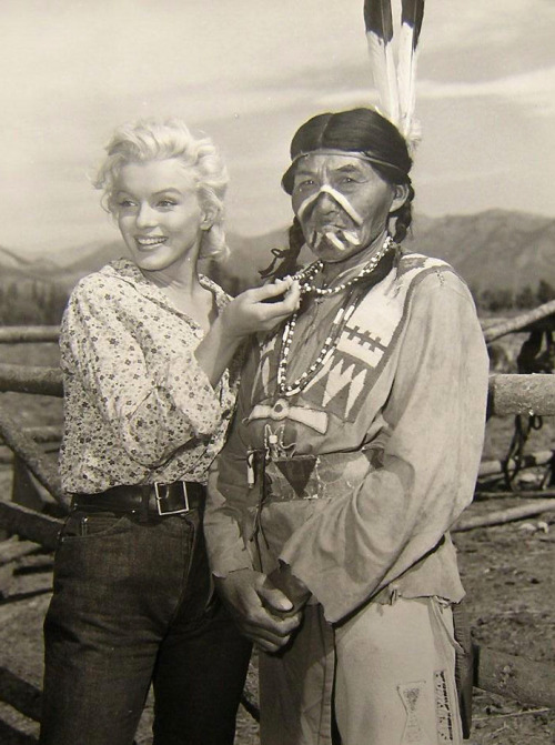 Marilyn Monroe during the filming of River Of No Return, in Canada, 1953.