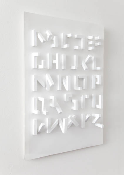 3d typeface (only visible from one angle) by stefan abrahams (via stefanabrahams)