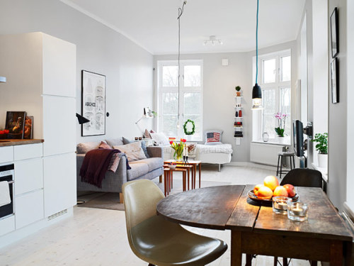 myidealhome:  freshome:Small Apartment in Gothenburg Showcasing an Ingenious Layout