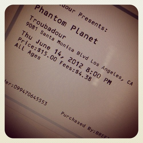 Phantom Planet show tonight!! Two extra tickets, anybody want to go? (Taken with Instagram)