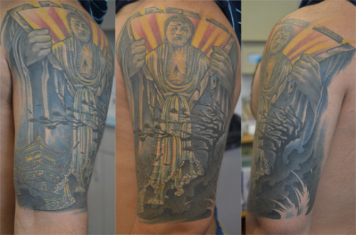 This is my half sleeve that I had finished earlier this year. It is a culmination of various Ideas that I had which an artist brought to life. To me it symbolizes a beautiful life, including the basic elements of time and inner peace. Also water which is the precursor to  life. This tattoo means more to me than I can put in words and it is also just a great looking piece.  This was done by Wayne Lessard, The owner of Bodytech Tattoo Gainesville, FL.