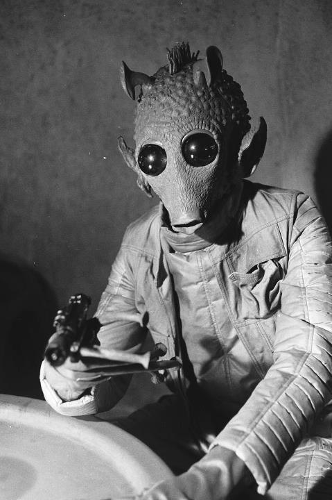 "Freeze!  ""LIKE"" this photo on facebook if you want to see Greedo unmasked (via Star Wars)"
