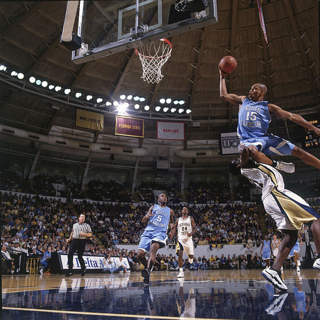 North Carolina guard Vince Carter drives strong to the hoop during a Feb. 1998 game against Georgia Tech. Four months later, Carter would be seelcted fifth overall in the 1998 draft by Golden State, who quickly traded him to Toronto for fourth overall pick Antawn Jamison. Another Tar Heel, John Henson, is trying to prove to NBA teams he's worth a lottery pick, says SI's Sam Amick, but his lack of body strength has been scaring some teams away. (Bob Rosato/SI) AMICK: UNC's Henson out to prove he's no lightweight