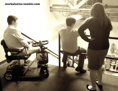 "Ders, Adam, and Jillian share a quiet moment before Big Fat is hurled down the stairs for another take in ""Fat Cuz""."