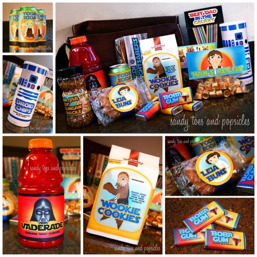 DIY Fathers Day Wookie Messenger Bag and Star Wars Food Printables. Tutorial and printables from sandy toes & popsicles here. *Really clever: Wookie Cookies, Han's Rolos, Leia Buns, Yoda Soda, Boba Gum, Vaderade, Droid Chips and more.