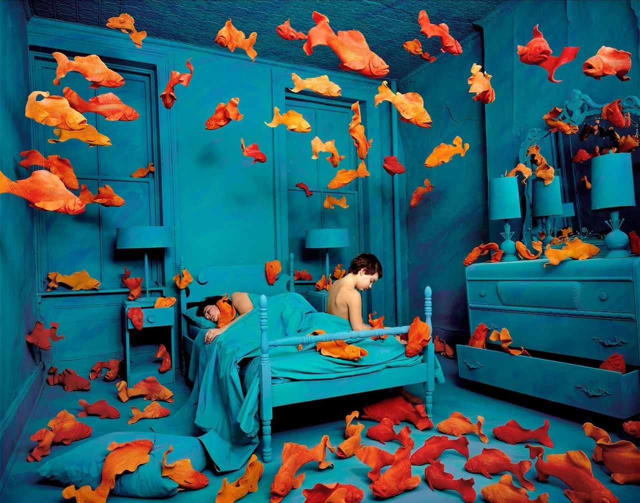 noiseman:  Revenge of the Goldfish by Sandy Skoglund, 1980.