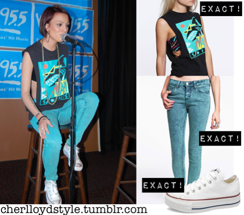 cherlloydstyle:  Cher was spotted today at Wild 95.5 in a Urban Outfitters Maui Deco Shark Tee, a pair of Urban Outfitters BDG Acid Wash Ankle Cigarette Jeans and a pair of Converse Chuck Taylor All Stars in Optical White.