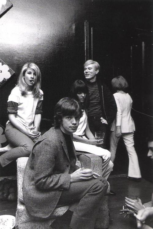 """Baby"" Jane Holzer, Mick Jagger and Andy Warhol at Jane's apartment, 955 Park Ave, Manhattanphoto by David McCabe, c. 1960s"
