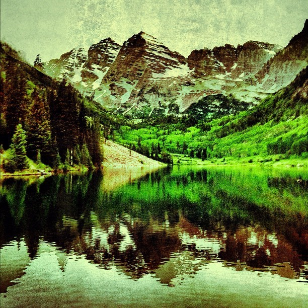 Maroon Bells yesterday evening. Edited with snapseed on iPhone. #mountains #scenic #iphone #aspen #maroonbells (Taken with Instagram)