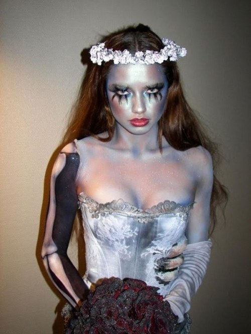 pinkarella:  Adriana Lima's Halloween Costume, inspired by Tim Burton's 'The Corpse Bride', 2010