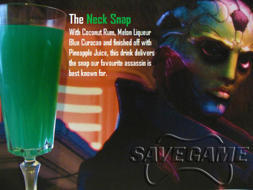 thedrunkenmoogle:  The Neck Snap - Thane Krios (Mass Effect cocktail) Ingredients:3/4 oz. Coconut rum1/2 oz. Melon Liqueur1/2 oz. Blue CuracaoPineapple juice Directions: Mix first three ingredients in a glass and fill with pineapple juice. Cool and green, just like Thane. Drink created and photographed by Save Game. Check them out for more Mass Effect drinks.  [drools] pfft just as I'm about to post this, Ari shares the link.  GO GO GO XD