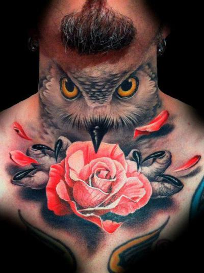 Sick Tat! Full Neck Owl Rose Demon Another example of some great outstanding work! The artist really made great use of the space and the imagery is just spectacular! This is simply one of the best tattoos I've ever seen. Artist piece by Danny Martos Sanchez, photo by Tattoo Artist Magazine.