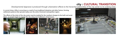 "This research discusses how changes to the urban environment has affected the ""city center"" not actually being the center of the city. We can begin the conversation here, discussing what the ""shape"" of the city is, and how that allows for connecting people to activity via the interconnections of buildings to sites to neighborhoods. Traditional ways of reading and navigating the city have been altered, due to the ebb and flow of the city and its suburbs, where people choose to work, and where development takes place. When you conceptualize a ""city center"" or ""downtown"" where a lot of urban activity is occurring, is that really in the center of the city?  How do you find out what is going on in your city — what does ""happening"" mean to you and what does it look like? We can continue the discussion by analyzing how the buildings help us find this urban activity; how it contains it, displays it, and leads us to it. Do you happen upon gatherings of people at an establishment, seeking to find a friend and leave the ""lonely planet"" behind you? Do you feel that the city still caters to smaller, more focused gatherings of people, allowing visitors to engage those groups to find out more regarding the city's culture, so they can begin to move and shake along with the movers and the shakers? Are you intrigued by the new urban playgrounds of ""destination developments"", that open the city up to residents and travelers both near and far?  Traditional means and avenues for design resulted in allowing energy to sift through different layers of the building, avoiding a stark inside/outside relationship. People could congregate directly at the front, or at the side in an exterior garden space, creating ""overlapping social networks"" that connected to passersby and sidewalk activity. In lieu of traditional means, what is left for the one who seeketh urban energy? Is social media the tie that binds those with common goals and similar perspectives, though separated by miles, subdivisions, and condo boards? Or can you still successfully find a slot to input your two cents on the future path of the city, and help tie into the social fabric? Good luck if you do; we all must keep striving. At times, it seems like there ain't no love in the heart of the city."
