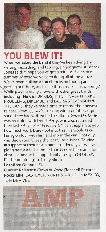 You Blew It! in the newest issue of AMP Magazine.