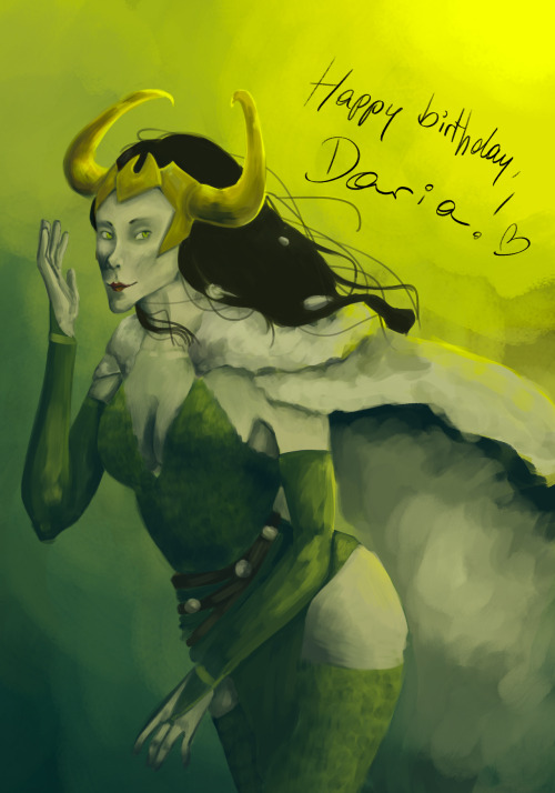painttheblog:  One day late birthday present for Daria!! :DDD So, yeah. Have a random Lady!Loki <3  Thaaank you dear! <3 you even broke your hiatus for this, I'm honored! and somehow this reminds me of her xD