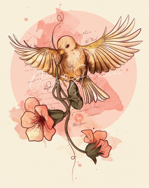 Bird & flower watercolor art!