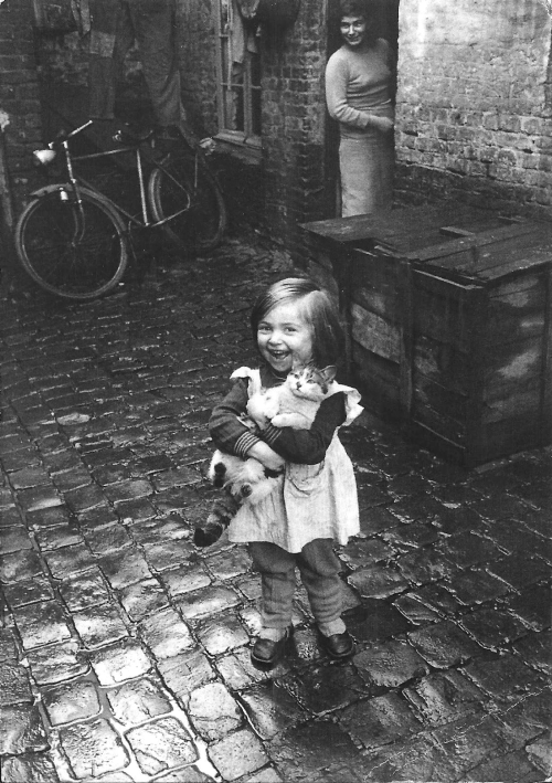 Girl with kitten, Roubaix, 1958 by Jean-Philippe Charbonnier