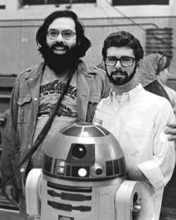 pickledelephant:   Francis Ford Coppola visits George Lucas on the set of Star Wars.