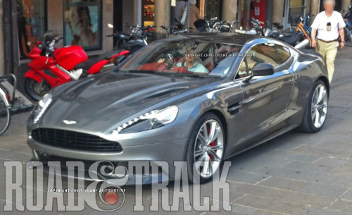 This spy photo of the new Aston Martin Vanquish will replace the V12 DBS and is rumored to have close to 600 bhp. (Source: Road & Track)