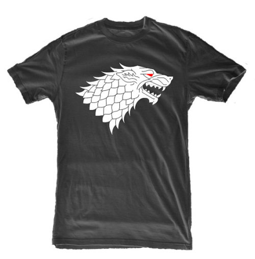 "What Would Jon Wear? A casual t-shirt in black for the Night Watch, featuring Ghost on the front with the Stark words ""Winter is coming"" on the back.  Available at this etsy shop."