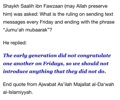 Don't say Jumu'ah Mubaarak!