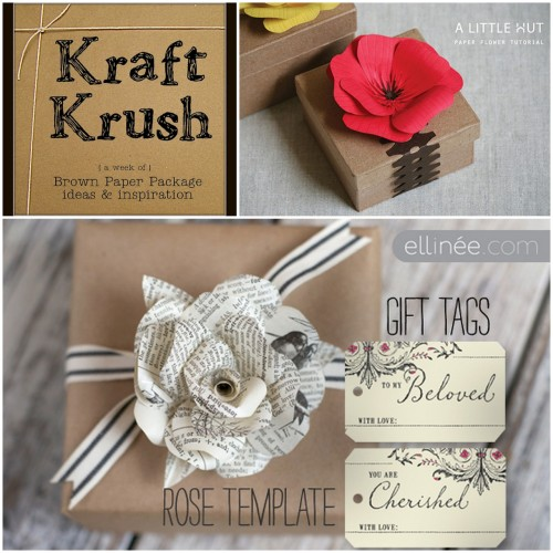 truebluemeandyou:  Roundup of Flowers and Kraft Paper Packaging Ideas from Older and Wisor here. Photo Upper Right: A Little Hut here, Photo Bottom: Ellinee here.