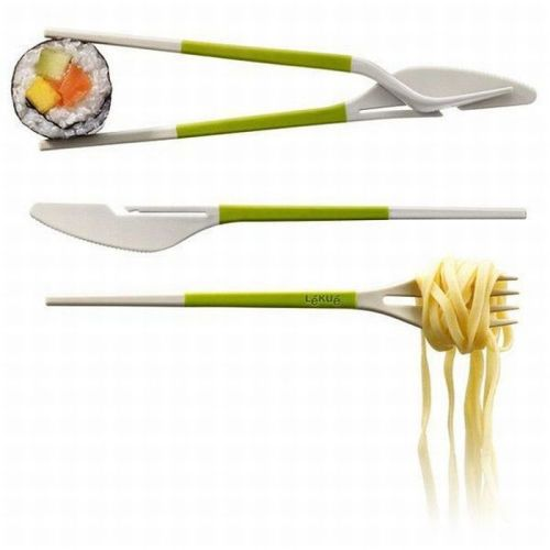 Knife and fork chopsticks.