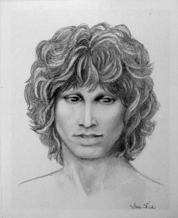 "womenofthedoors:  Portrait of Jim Morrison, by Grace Slick. There is a chapter in Grace's autobiography about her encounters with Jim entitled ""Strawberry Fuck."" [x]"