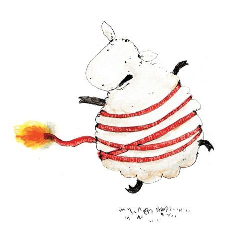 A sheep wrapped in a burning measuring tape.