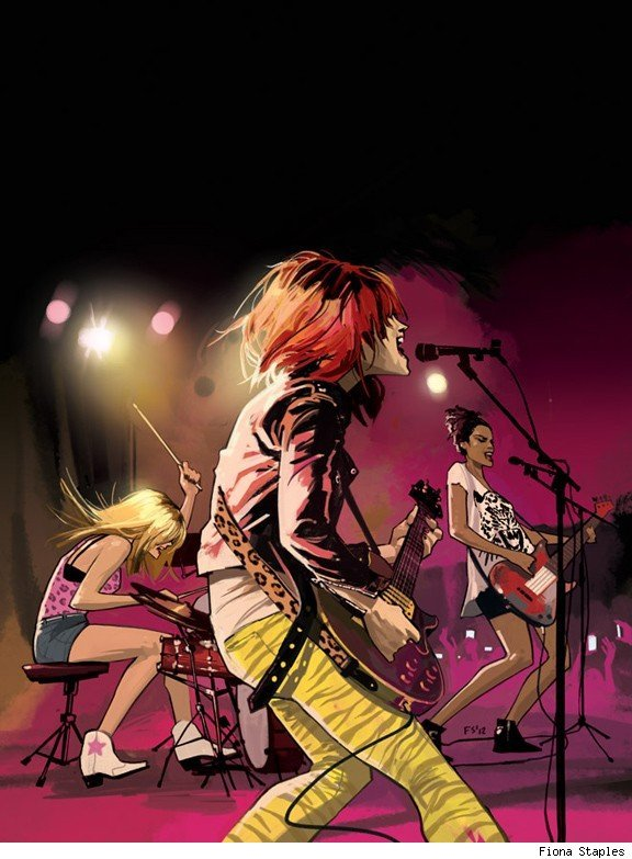 "comicsalliance:  Josie and the Pussycats Rock Out with Fiona Staples By Andy Khouri It doesn't go on sale until October, but Life With Archie #24 comes with a variant cover so cool that we had to show it to you at once. Illustrated by the great Fiona Staples (Saga), we see here the introduction of Archie Comics' iconic girl group Josie and the Pussycats into the ceaselessly surprising possible-future reality in which Life With Archie takes place, which has included events such as Archie marrying both Betty and Veronica in separate timelines (constituting an Archie Comics multiverse), the marriage of U.S. soldier Kevin Keller to a male partner, and Cheryl Blossom suffering from breast cancer. Staples' punkier Pussycats join Francesco Francavilla's Riverdale Zombies and KISS crossovers as some of Archie Comics' more memorable covers in recent years, which have helped make these artifacts of Americana comics relevant not just to today's younger readers, but really fun for an older generation who'd once enjoyed them as children.Staples provided some commentary for this image on her blog, writing, ""This storyline take place about ten years into the future, so I did a grown-up version of the band! It was inspired in part by the 2001 Pussycats movie, and Alison Mosshart from The Kills, who wears a lot of animal print.""Incidentally, ComicsAlliance Senior Writer Chris Sims remarked during the preparation of this post that the film Staples referenced, 2001's Josie and the Pussycats, is the ""best comic book film of all time.""[Via Robot 6]"