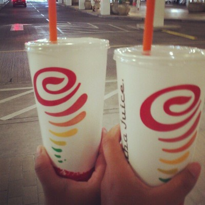 We got our jamba fix! #jambajuice #proteinberryworkout #weightburnerboost #original #orangedreammachine  (Taken with Instagram)