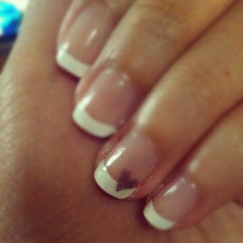 Added a #prettylilheart <3 to thee #ringfinger. #frenchtip #fingers #nails #polish (Taken with Instagram)
