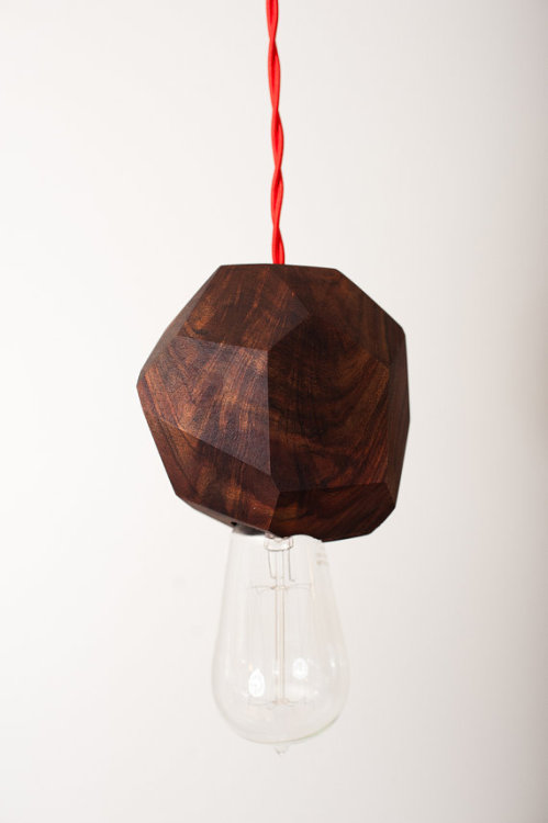 Chunk - Solid Walnut Pendant Light with Edison Bulb by Dylan Design Company