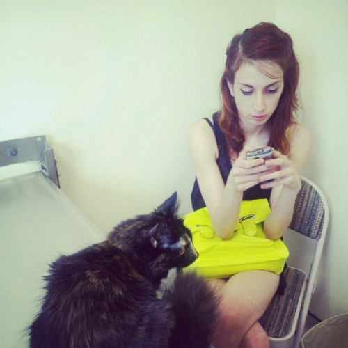 mellymouse:  @rileyanneoh and pico at the veterinary hopsickle (Taken with Instagram)  We were worried about Pico because she started crying and doing weird things, and it turns out she's just in heat. (Remember that time we thought Pico had balls and then realized there were none? Officially confirmed by the vet.)So basically we're supposed to let her roll around on the floor being annoying for a few weeks and then get her fixed.