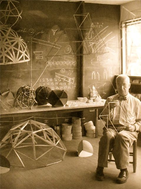 sfmoma:  thebirthofart:  Buckminster Fuller in his Black Mountain College studio.  Creative genius at work!