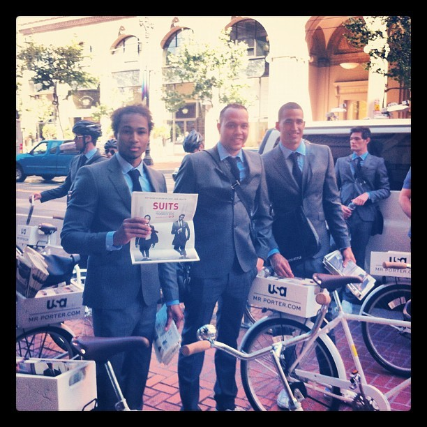 "Dudes in suits on bikes promoting ""Suits"" on #usanetwork  (Taken with Instagram)"