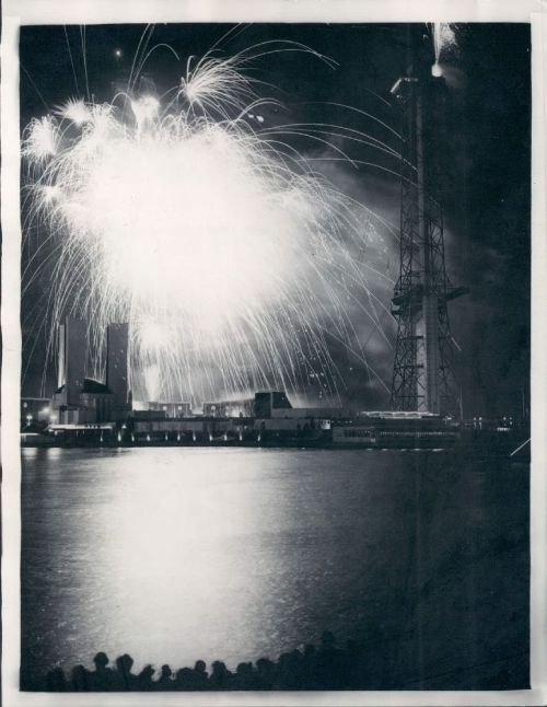 A brilliant fireworks display closes out the Century of Progress World's Fair, 1934, Chicago.