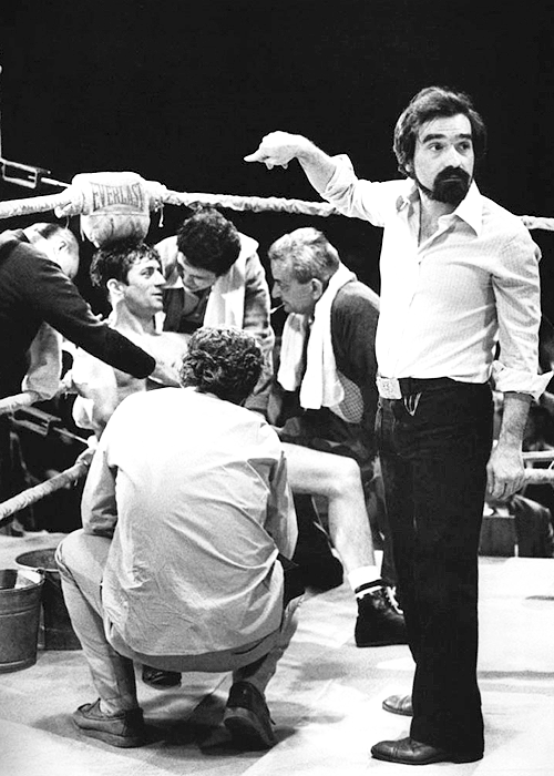 Martin Scorsese and Robert De Niro on the set of Raging Bull